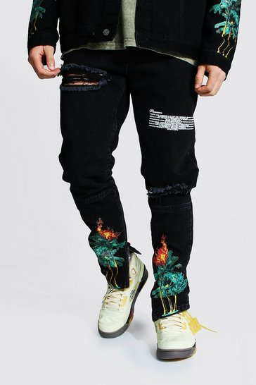 Black Skinny Jean With Palm Tree Print