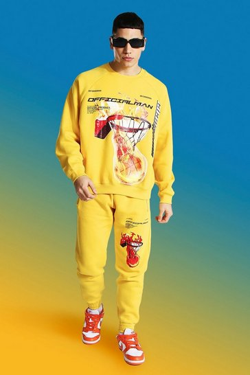 Mustard yellow Official Man Basketball Print Tracksuit