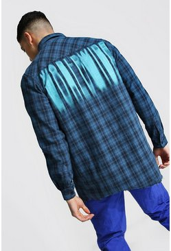 Blue Longline Check Shirt With Back Print