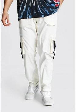 Ecru white Multi Pocket Cargo Trousers