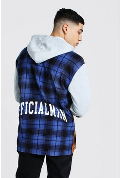 Blue Spliced Check Shirt With Hoodie Layer