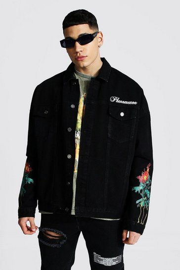 Black Oversized Palm Tree Denim Jacket