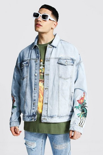 Ice blue Oversized Palm Tree Denim Jacket
