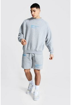 Grey marl grey Official Man Butterfly Short Tracksuit