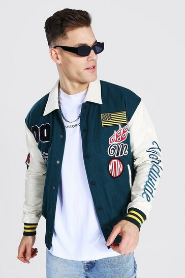 Green Tall Official Man Souvenir Bomber Jacket