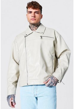 Ecru white Oversized Biker Jacket