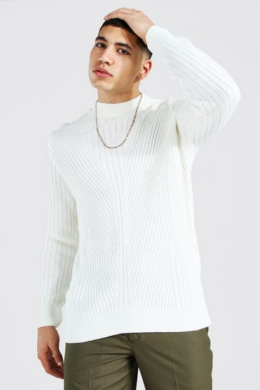 Cream white Extended Neck Knitted Jumper With Moving Ribs
