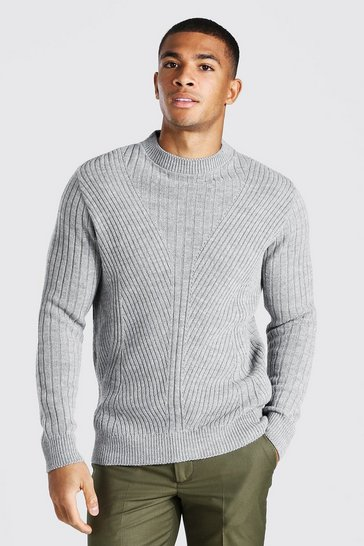 Grey marl grey Extended Neck Knitted Jumper With Moving Ribs