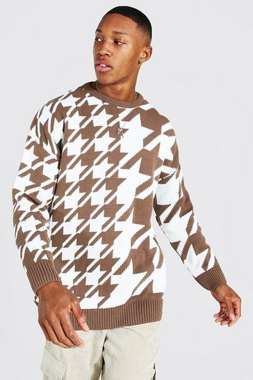 Brown Oversized Spliced Dogtooth Knitted Jumper