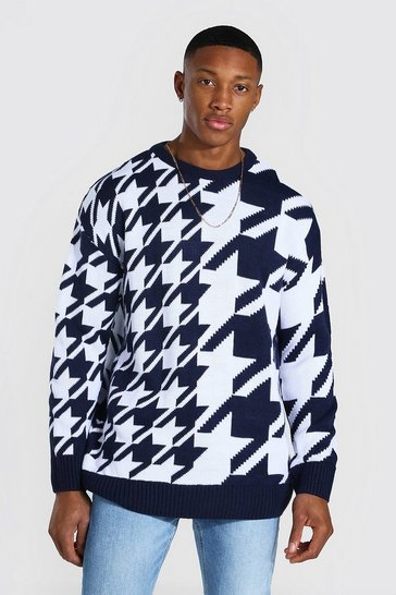 Navy Oversized Spliced Dogtooth Knitted Jumper