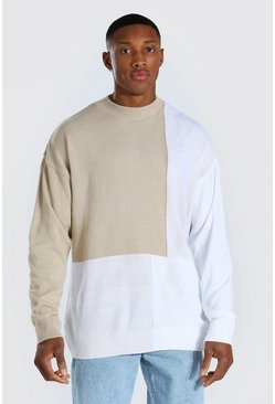 Cream white Colour Block Turtle Neck Knitted Jumper