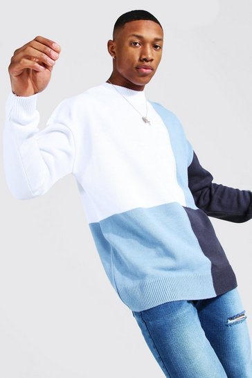 Blue Colour Block Turtle Neck Knitted Jumper