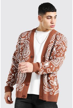 Rust orange Bandana Knitted Cardigan