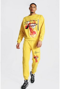 Mustard yellow Tall Official Man Basketball Print Tracksuit