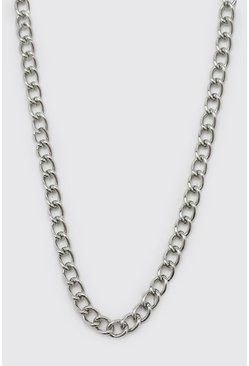 Silver Chain Necklace With T Bar And Toggle Detail