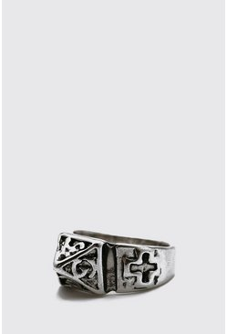 Silver Signet Ring With Cross And Lettering
