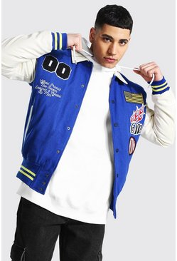 Cobalt blue Official Man Varsity Badge Bomber Jacket