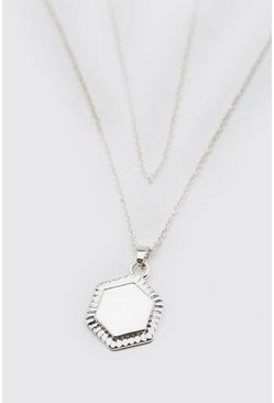 Silver Double Layer Chain With Hexagon Pendant