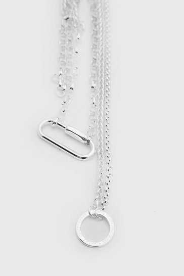 Silver Double Layer Pendant Chain With Hardware