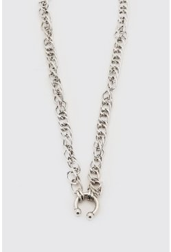 Silver Chunky Chain Necklace With Bull Ring