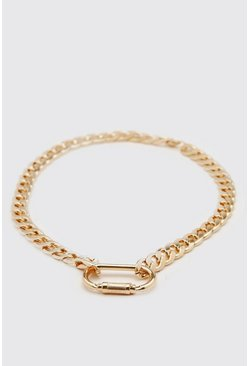 Gold metallic Chunky Chain Necklace With Carabiner