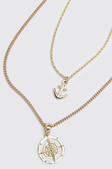 Gold metallic Double Layer Chain With Anchor And Compass