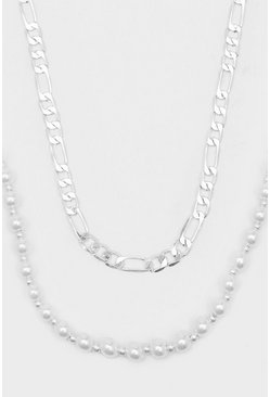 Silver Double Layer Figaro Chain Necklace