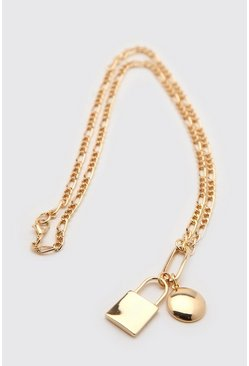 Gold metallic Chain Necklace With Padlock Detail