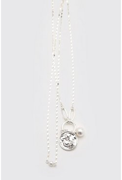 Silver Double Layer Chain With Anchor And Pearls