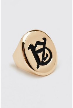 Gold metallic Signet Ring With Traditional Letter Detail