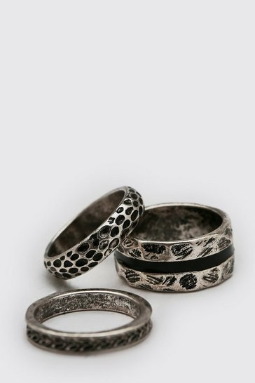 3 Pack Silver Ring Set With Stripe Detail