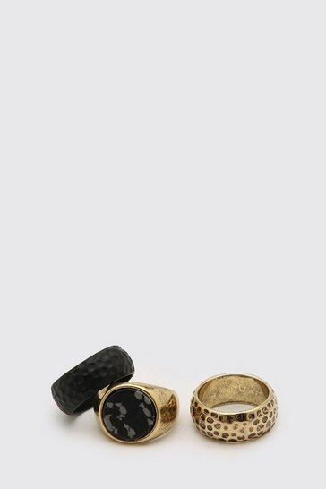 3 Pack Gold And Black Textured Ring Set