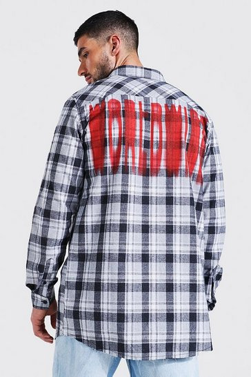Grey Longline Check Shirt With Back Print