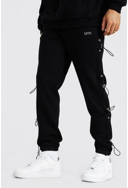 Black Regular Original Man Bungee Detail Joggers