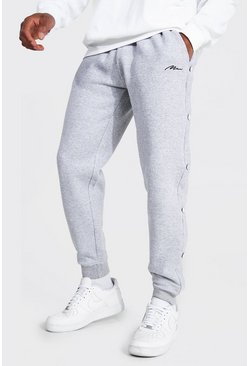 Grey marl grey Man Signature Regular Popper Joggers