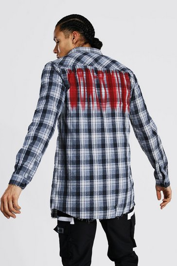 Grey Tall Longline Check Shirt With Back Print