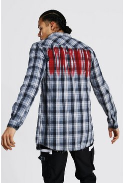 Tall Longline Check Shirt With Back Print, Grey gris