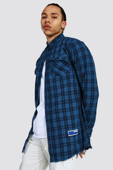 Blue Tall Longline Check Shirt With Back Print