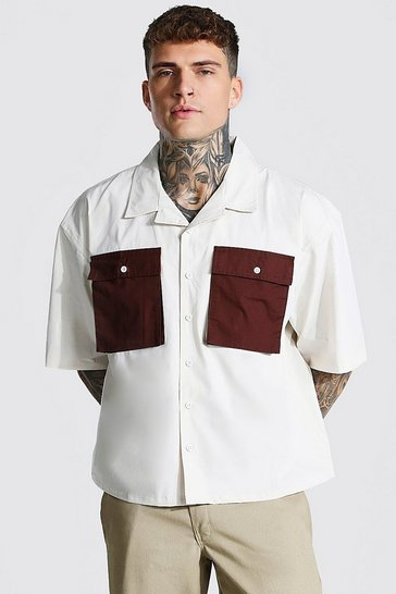 Beige Short Sleeve Boxy Fit Utility Shirt