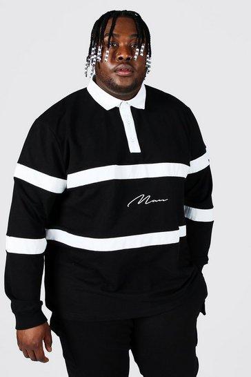 Black Plus Size Man Script Colour Block Rugby Polo