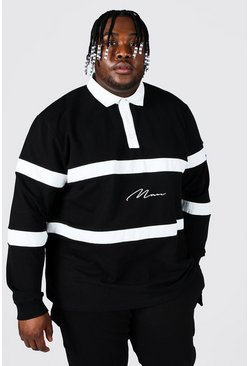 Black Plus Size Man Script Colour Block Rugby Polo