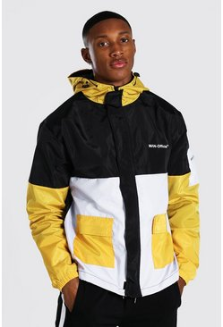 Mustard yellow Colour Block Man Branded Front Pocket Cagoule
