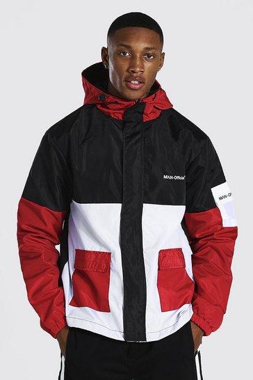 Red Colour Block Man Branded Front Pocket Cagoule