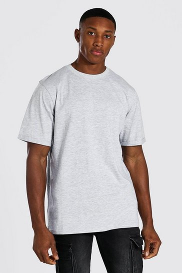 Grey Crew Neck T-shirt With Rolled Sleeves