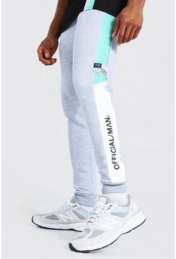 Jade green Skinny Official Man Colour Block Joggers