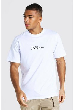 Camiseta con bordado de Man Signature, Blanco