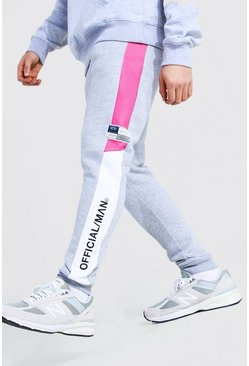 Grey marl grey Skinny Official Man Colour Block Joggers
