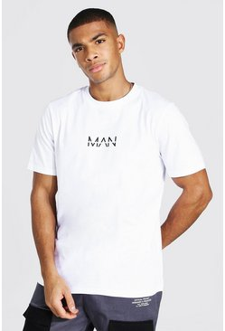 "Camiseta con logotipo ""MAN"" estampado Original, Blanco"