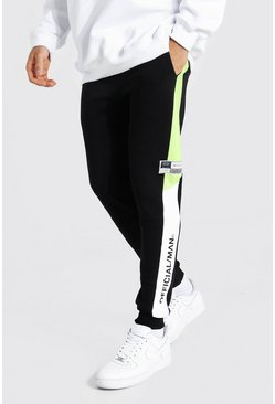 Acid lime yellow Skinny Official Man Colour Block Joggers