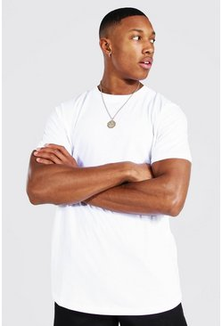 White Longline Curved Hem T-shirt